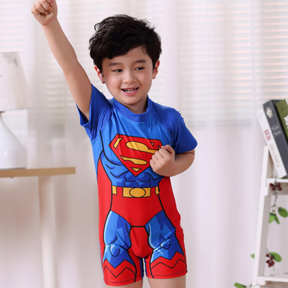 2018 Multi Cartoon Characters Boys Swimsuit Spiderman Kids Swimwear Bathing Suit Short Sleeve