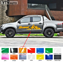 2PC side door rear trunk car accessories decals irregular shape dmax mountains styling graphic vinyl stickers for 2012