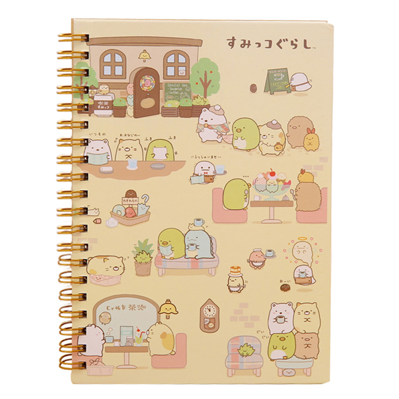 Kawaii Japan cartoon Rilakkuma & Sumikkogurashi Coil notebook/Diary agenda/pocket book/office school supplies Activity my snowman activity sticker book