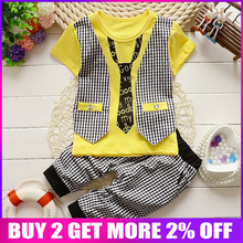 BibiCola Infant boys summer clothing Sets Baby Cotton Blue Color Tie Plaid Suit For Little Boy Plaid Gentleman Vest style TShirt