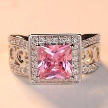 Beiver Новые поступления квадратные Розовые циркониевые кольца для женщин Роскошные белого золота цвет обручальные кольца ювелирные изделия Дамы подарки