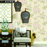Milan New Fashion Non Woven Wallpaper Chinese Style Wall Cloth Flowers Wall Paper For Living Room