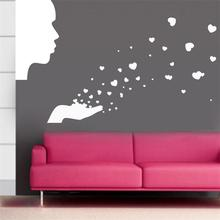 People Blowing Hearts Wall Decal Sticker Boy Girl Love Nursery Baby Room Wall Sticker 83*44cm Living room wallpaper