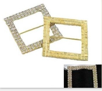 50mm square rotundity crystal rhinestone buckle for wedding invitation card Napkin buckle ribbon clasp silver gold