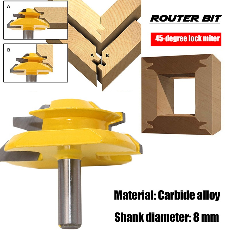 Cutter 45 Degree Lock Miter 8 MM/0.31 Inch Shank Router Bit Milling Tool Wood Plywood Woodworking Tools high grade carbide alloy 1 2 shank 2 1 4 dia bottom cleaning router bit woodworking milling cutter for mdf wood 55mm mayitr