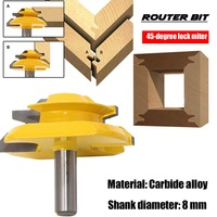 Cutter 45 Degree Lock Miter 8 MM 0 31 Inch Shank Router Bit Milling Tool