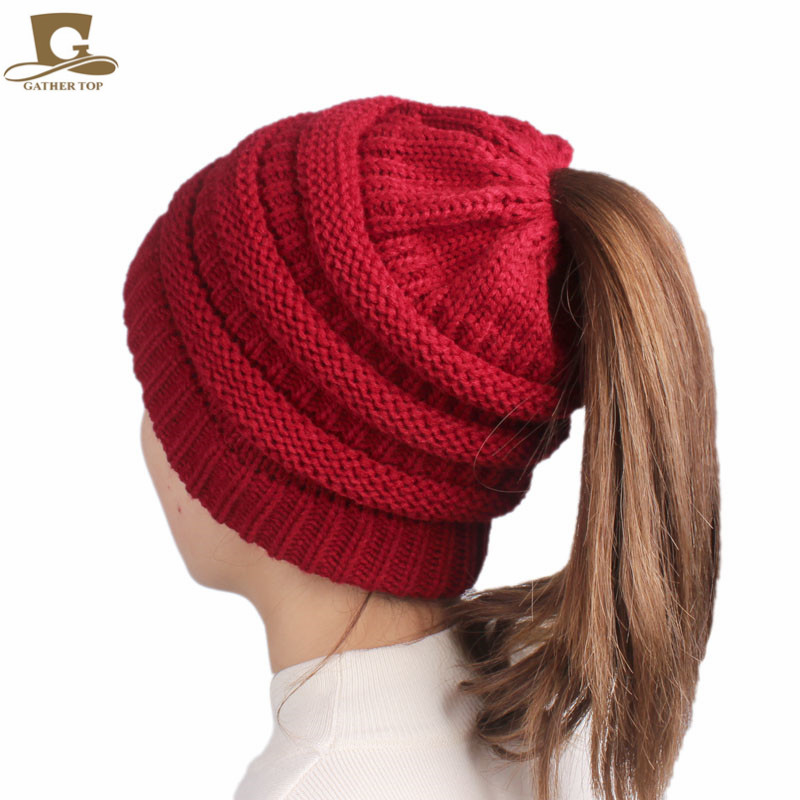 3db31ba212e ... 2017 winter Women s popular beanies hats girls lady hat Tail Soft  Stretch Cable Knit Messy High Bun Ponytail caps. 13% Off. 🔍 Previous. Next