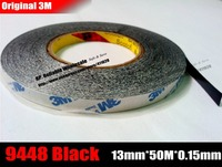 13mm Wide 50M Long 3M Double Sided Adhesive Black Ribbon Tape For Iphone Ipad Galaxy Huawei