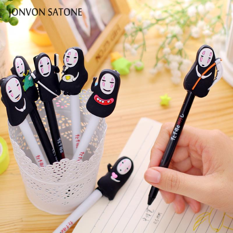 Jonvon Satone 8 Pcs Set Gel Pen Black Ink Korean Creative Signature Pen Cartoon No Face Male Neutral Pen Animation Stationery