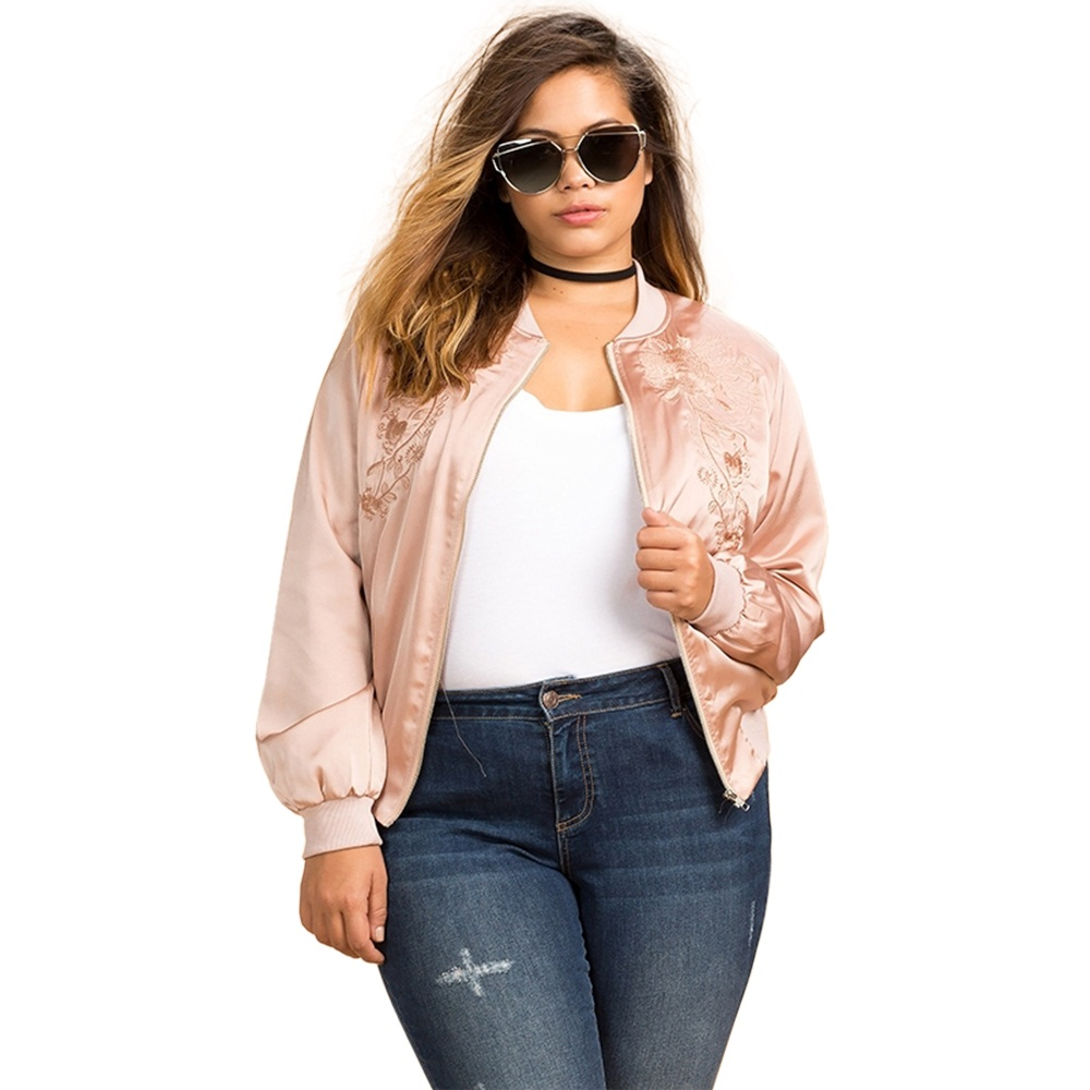 Spring Coat Women Preppy Style Fashion Long Sleeve Flower Embroidery Maxi  Size Basic Bomber Jacket Plus Size 3XL 4XL 5XL 6XL -in Basic Jackets from  Women s ... b2815db2820b