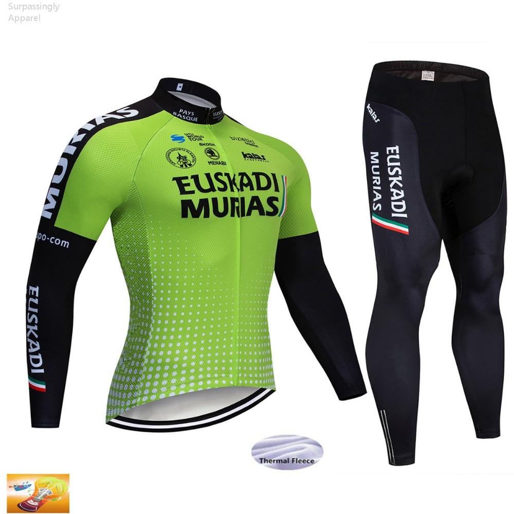 Pro UCI Team EUSKADI Cycling Jersey Set Winter Fleece Thermal Bike Jersey Sets Men MTB Bicycle