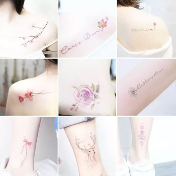 30Pcs/Set No Repeat Temporary Tattoo Stickers Waterproof Tattoos For Women Sexy Arm Clavicle Body Art Hand Foot for Girl Men 1