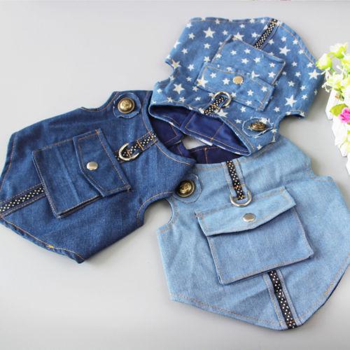 NEW Pet Dog Spring Summer Clothes T Shirt Puppy Cotton Vest Cowboy Coat Costumes