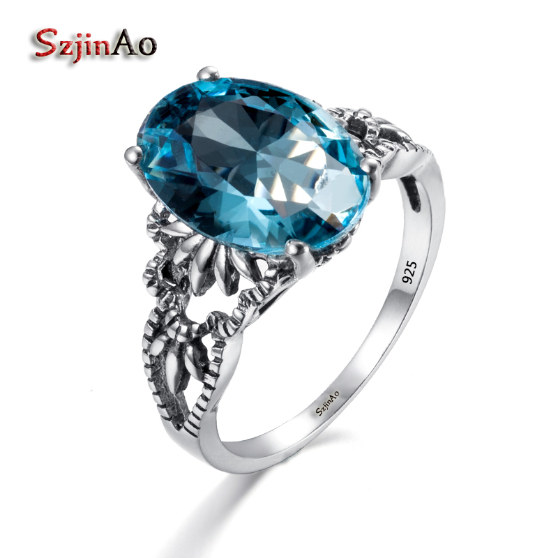 Szjinao High Quality 100% 925 Sterling Silver Skull Ring For Women Aquamarine Gothic Style Turkey Luxury Jewelry Gift Clamor
