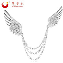 MZC Luxury Classic Double Angel Wings Silver Plated Brooches For Male Lover Shirt Suit Pin Anime Men Jewelry Brosch Bijuterias