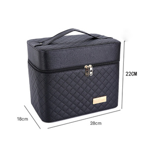 Image 3 - Professional Women Large Capacity Makeup Fashion Toiletry Cosmetic Bag Multilayer Storage Box Portable Make Up Suitcase