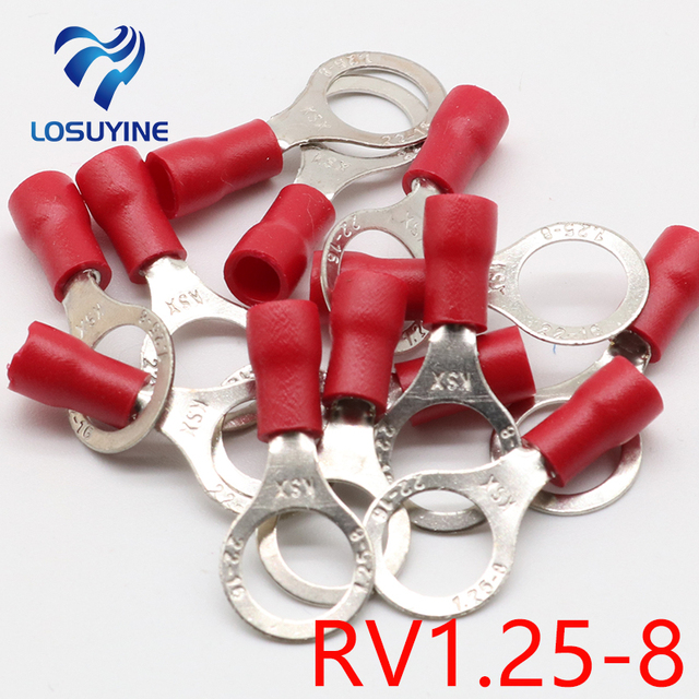 RV1.25 8 Red Rund 22 16 AWG 0,5 1.5mm2 Isoliert Ring Terminal ...