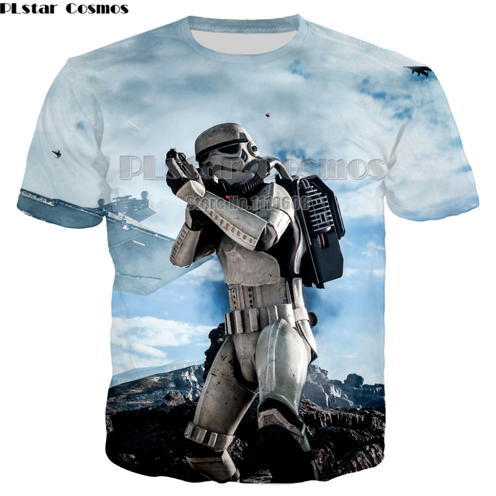 PLstar Cosmos  kind of funny Printed Star Wars T-Shirt robot shirt Novelty Men's cool T shirt Fashion star wars t shirt tops
