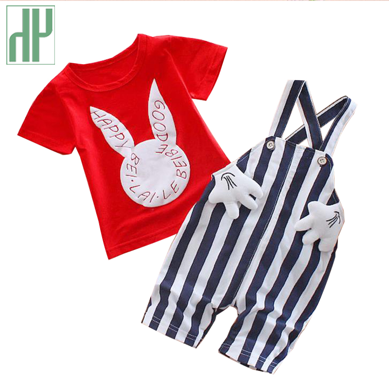 Baby boy summer clothes Sets rabbit kids casual sport suits girl tracksuits costume children clothing bib t shirt+stripe shorts aile rabbit summer 2016 new baby boy pattern rabbit toddler plaid kids clothes children clothing set