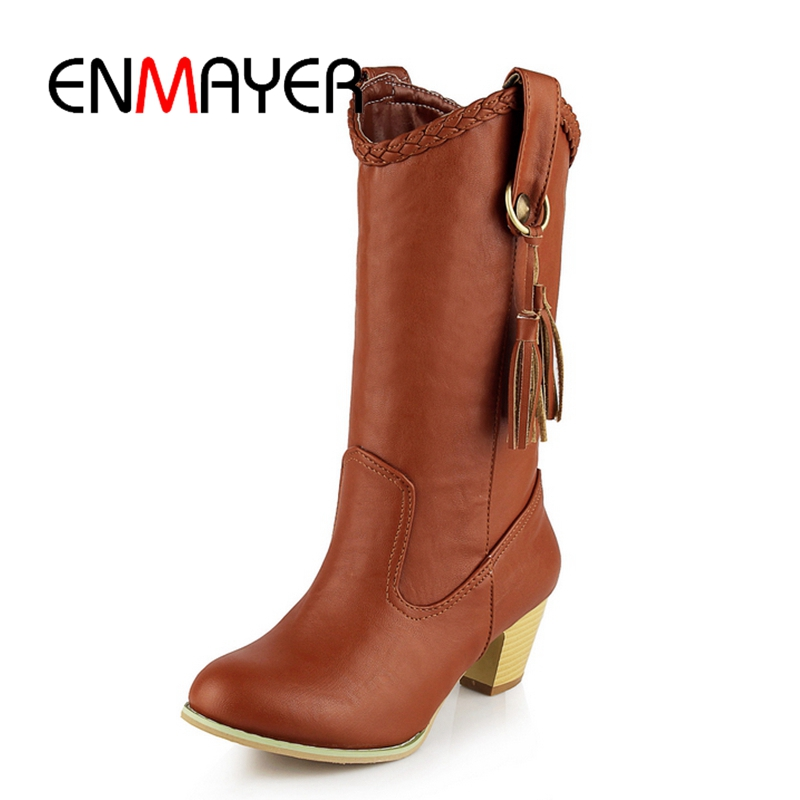 ENMAYER New lady Round Toe Winter western Boots Shoes Woman Low Heels Snow Boots Dark brown Mid-calf Boots for Women ZYL 227 цена