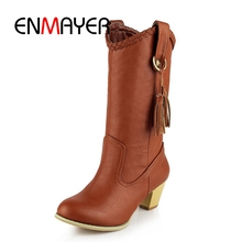 ENMAYER New lady Round Toe Winter western Boots Shoes Woman Low Heels Snow Boots Dark brown Mid-calf Boots for Women ZYL 227 round toe lady snow booties botas soild color winter chunky heels shoes woman new designer european style flock woman boots