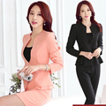 Trajes de las mujeres profesionales pantalones de traje OL formal vestido salón de belleza trajes de mujeres de manga larga traje de falda