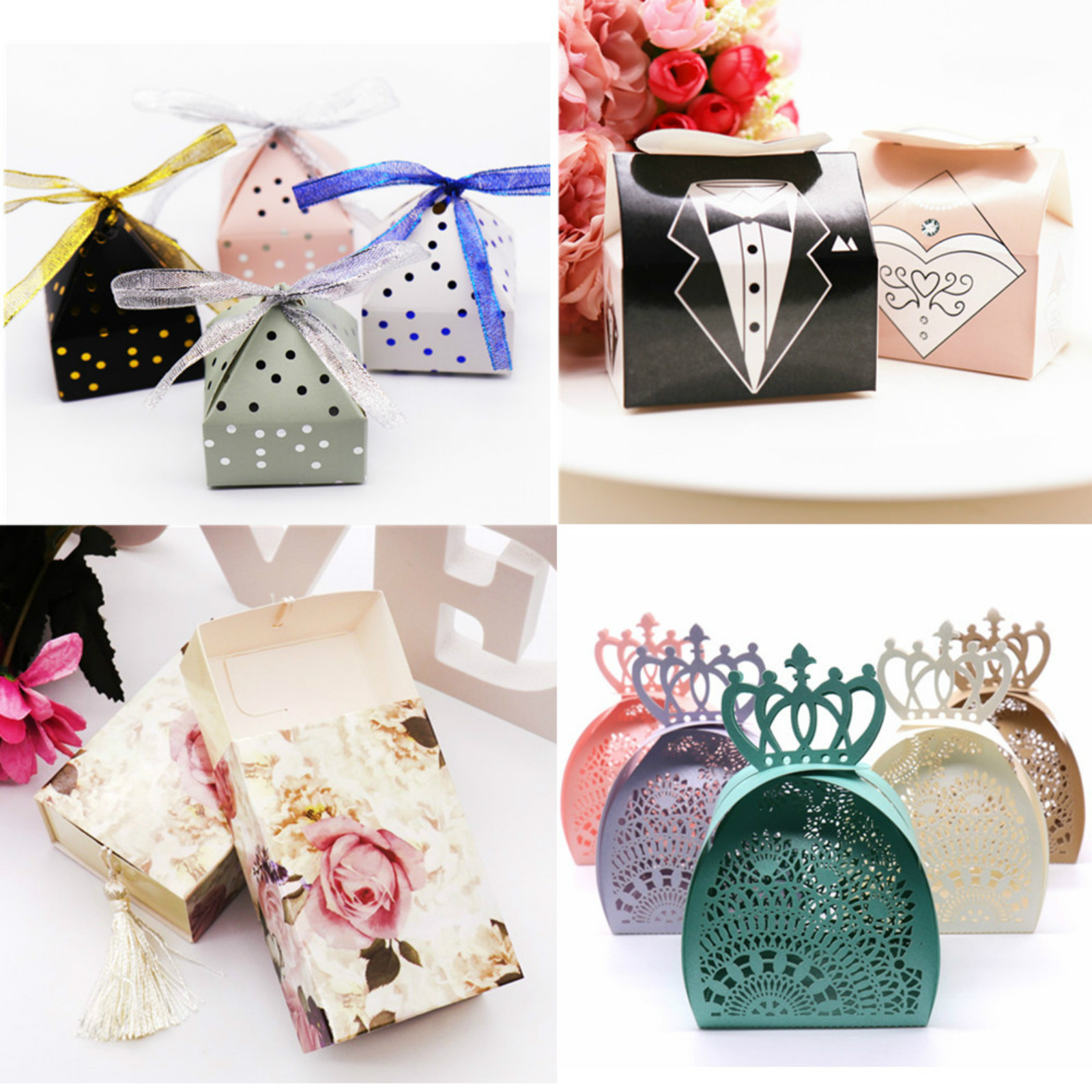 Romantic Groom Bride Love Chocolate Box Wedding Party Decoration Favor Hollow Butterfly Paper Candy Box Tassel Flower Gift Boxes