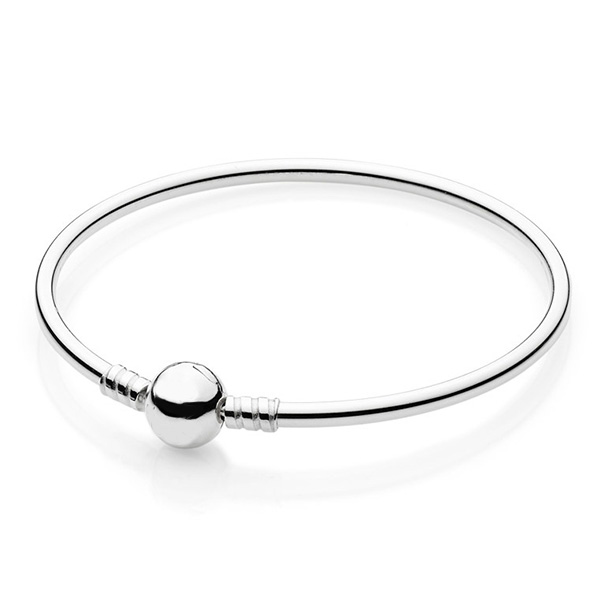 Authentic 925 Sterling Silver Bangle Ball Circular Clasp Clip Suitable Bracelet Bangle Fit Women Bead Charm DIY Pandora Jewelry 925 sterling silver pandora bangle poetic blooms clasp snake chain bracelet bangle fit women bead charm diy europe jewelry