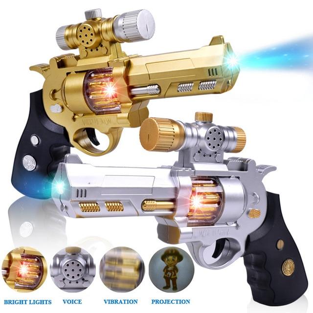 Children's luminous vibration electric gun Sound and light plastic toy gun Boy projection gun octave pistol toy