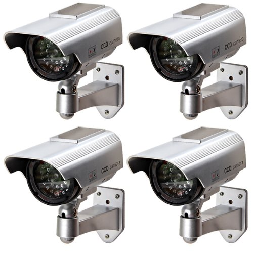 4 X CCTV TELECAMERA VIDEOCAMERA FINTA DUMMY OUTDOOR DA SORVEGLIANZA VIDEOSORVEGLIANZA WIRELESS PANNELLO SOLARE SICUREZZA