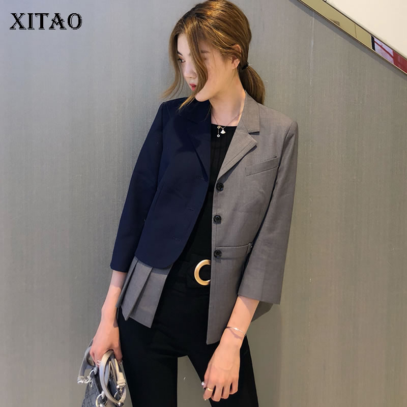 [XITAO] Women Single Breasted Fashion New Winter Spring Notched Collar Full Sleeve Patchwork Casual Loose Blazer  DLL1658