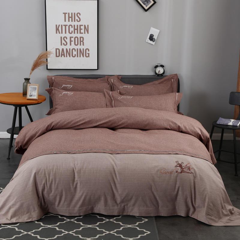 2018 100 cotton brief solid bedding set duvet cover bed sheet bed linen pillowcases foison light tan