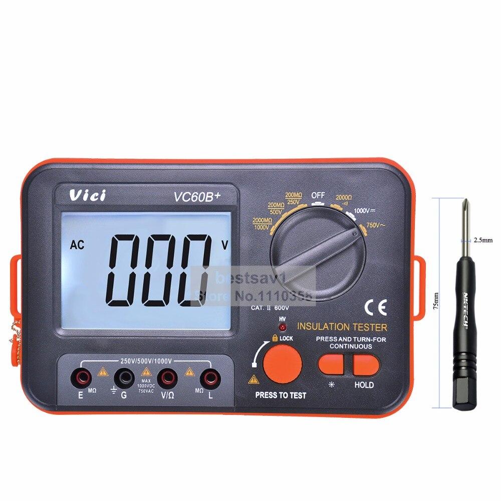 Vici VICHY VC60B+ Insulation Resistance Tester Megohmmeter Ohmmeter Voltmeter DVM 1000V 2G w/ LCD Backlight