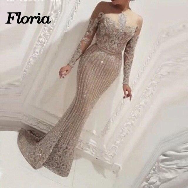 Newest Bling Mermaid Evening Dress 2018 Kaftan Dubai Formal Arabic Sparkly  Evening Gowns 2018 Robe De Soiree Abendkleider 9ba020b79457