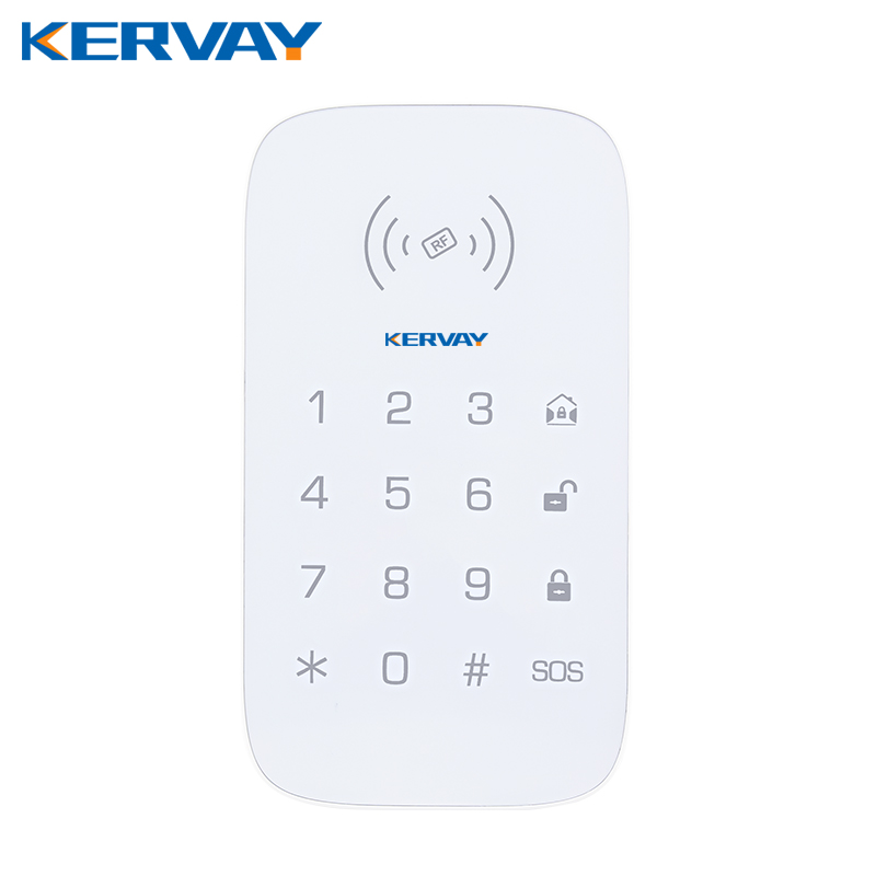 Kevay Wireless 433mhz RFID Alarm Keypad with Arming Disarming SOS button Touch keypad for our K-PG103 WIFI RFID GSM Alarm system wireless service call bell system popular in restaurant ce passed 433 92mhz full equipment watch pager 1 watch 7 call button