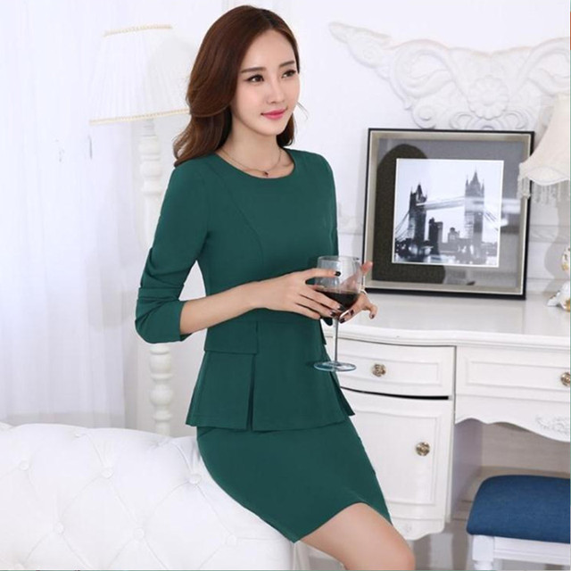 New Office Women's Skirt Suits Spring 2016 Autumn Fashion Solid Color Formal Career OL Work Skirt Set Female S-4XL Free shipping