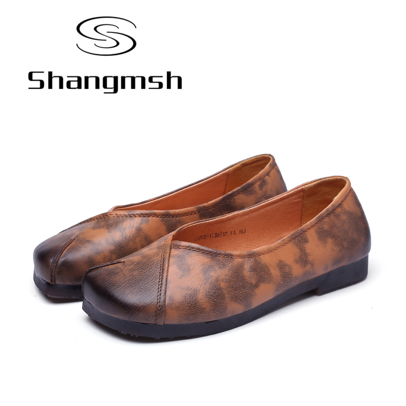 Shangmsh Ladies Footwear Fashion Women's Shoes 2017 New Summer Autumn Handmade Genuine Leather Soft Casual Flat Shoes Loafers shangmsh shoes for women 2017 new autumn