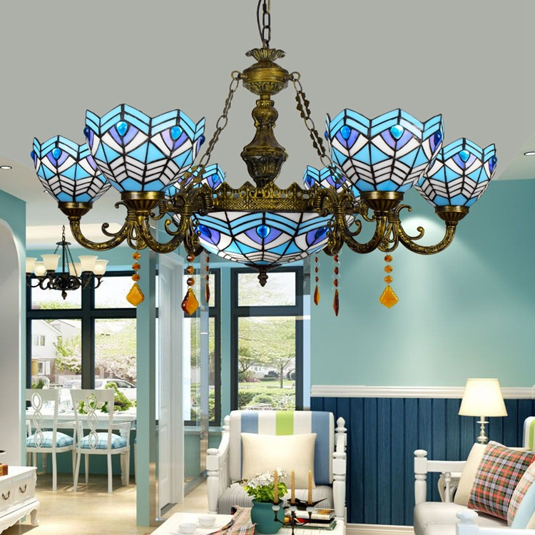 Tiffany Baroque Mediterranean Stained Glass Suspended Luminaire E27 110-240V Chain Pendant lights for Home Parlor Dining Room