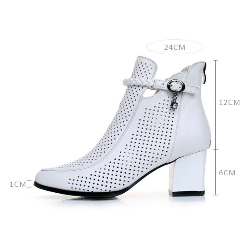 weiß Stiefeletten Leder Kurze Neue Sommer Schuhe Medium Stiefel Aus Quadrat Ferse Echtem Mode Plattform Schwarzes Frauen 2019 Ausschnitt AqfTww