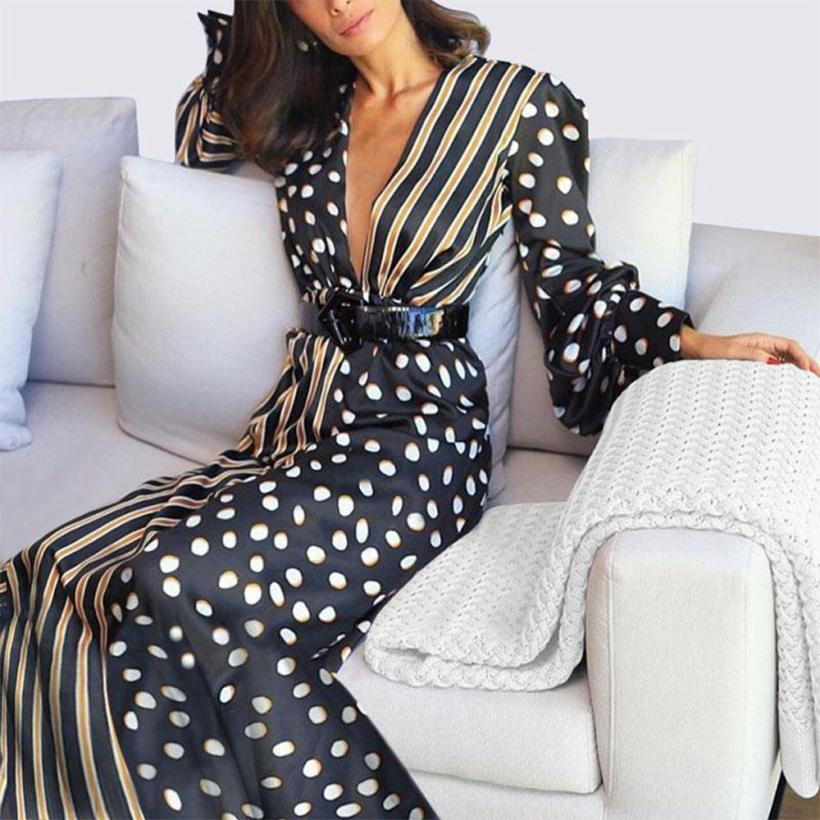 KANCOOLD Dress Womens Boho Half Sleeve Wave Point Fashion Dress Ladies Casual Evening Paty Long Dress Women 2018AUG15