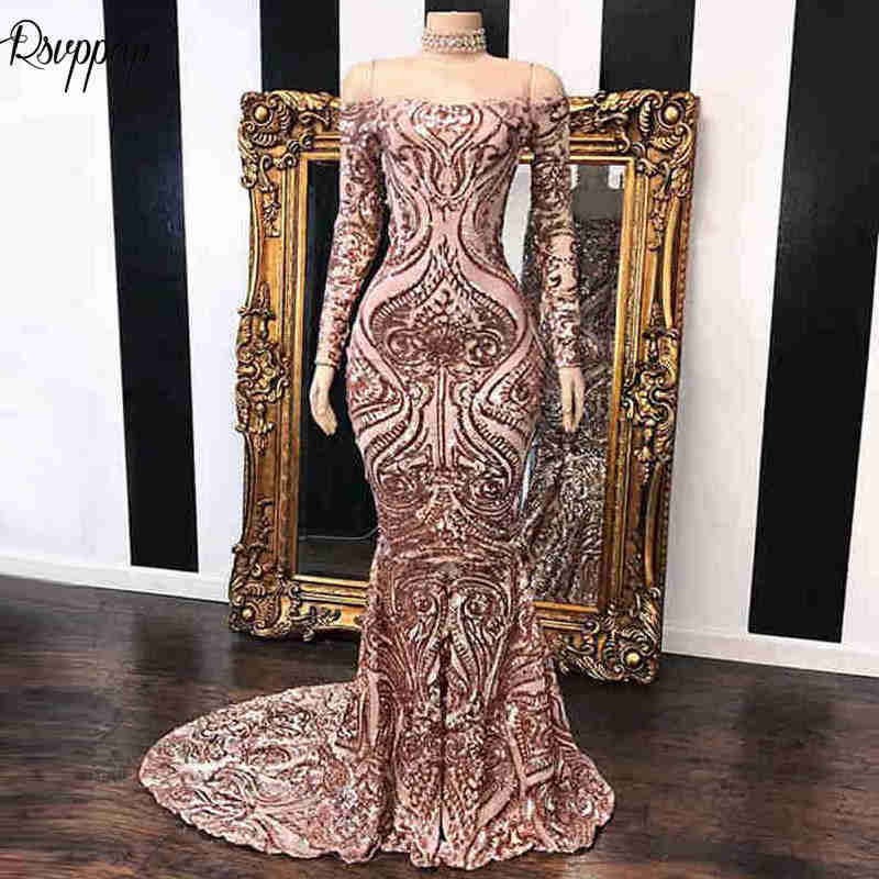 Long Sparkly   Prom     Dresses   2019 Elegant Mermaid Long Sleeve Sequin African Mermaid Women Black Girl   Prom     Dress