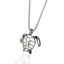 Cute Heavy Sea Turtles Tortoises Pendant Necklaces Gifts for Women Men Vintage Animal Hawaiian Spiral Jewelry In Steel