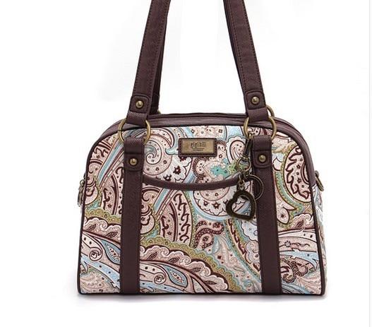 gigi hill brand women s tassel handbags paternet weekender bag zipper  classic shoulder bag flower printing leather bags 4 color 2ef9c2e25e830