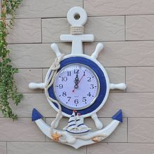 The Mediterranean-style wall clock large wood crafts and creative Home Decoration Wood Products