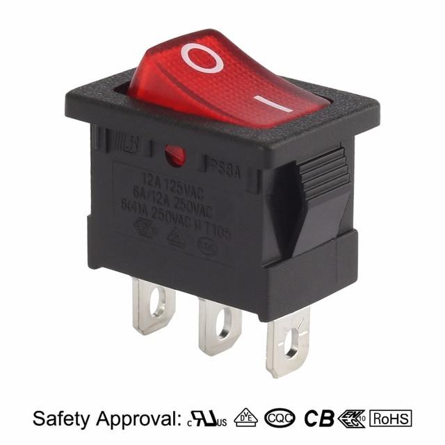 AC 10A 125V 8A 250V SPST 3P 2 Position I O Red LED