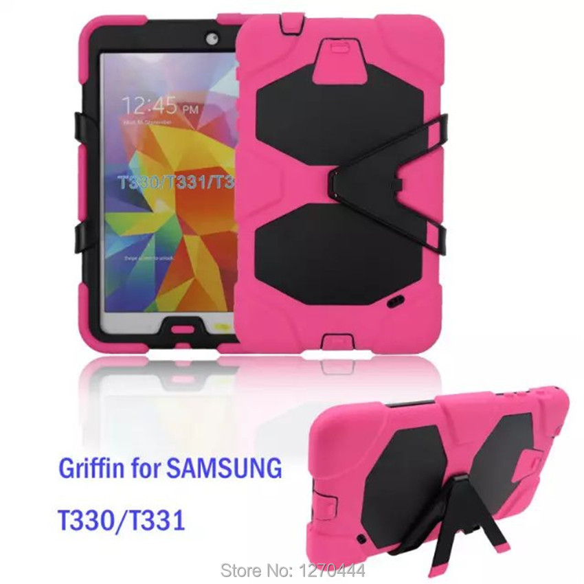 For Samsung Galaxy Tab 4 8.0 inch T330 / T331 /T335 Cover Tablet Heavy Duty Rugged Impact Hybrid Case Kickstand Protective Cover tire style tough rugged dual layer hybrid hard kickstand duty armor case for samsung galaxy tab a 10 1 2016 t580 tablet cover