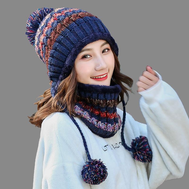 Girl Warm Ski 2018 New Brand Big Fur Pom Poms Ball Knitted Hats Scarf Hat Set Winter Women Beanie Hat Thick Skullies Female Cap