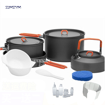 Outdoor Camping Hiking Cookware Backpacking Cooking Picnic 2 Pots 1 Frypan1 Kettle Set Foldable Handle Aluminium Alloy Material
