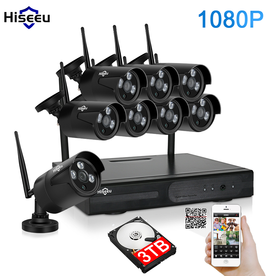 2MP CCTV System 1080P 8ch HD Wireless NVR kit 3TB HDD Outdoor IR Night Vision IP Wifi Camera Security System Surveillance Hiseeu 13x4 100