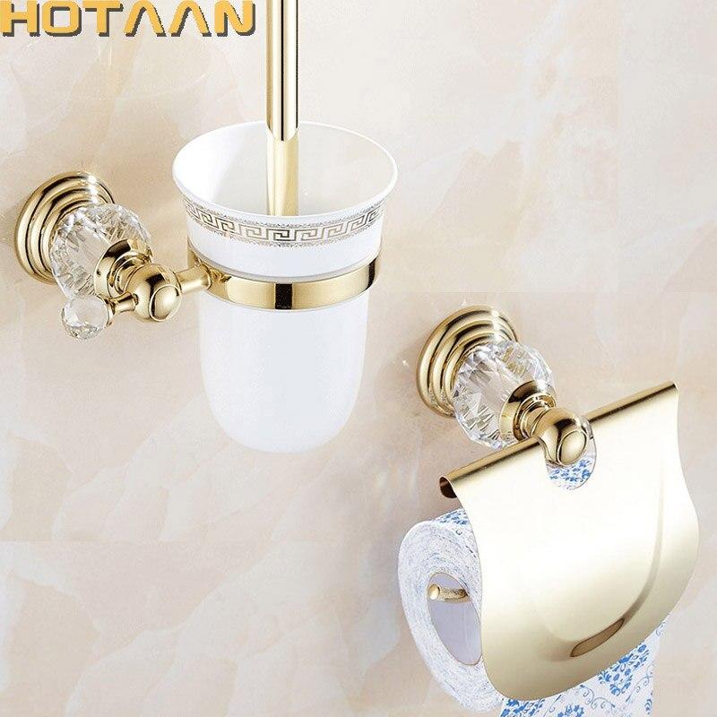 2019 Free shipping solid brass Bathroom Accessories Set toilet brush holder Paper Holder Gold bathroom sets